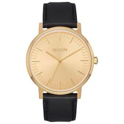 Mens's Nixon Porter Gold Dial Black Leather Watch A1058510