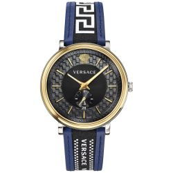 Mens' Versace V-Circle Greca Blue Leather Strap Watch VEBQ01419