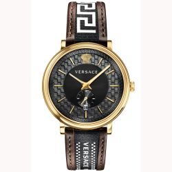 Mens' Versace V-Circle Greca Brown Leather Strap Watch VEBQ01619