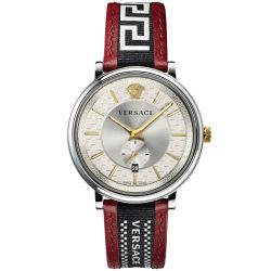 Mens' Versace V-Circle Greca Red Leather Strap Watch VEBQ01319