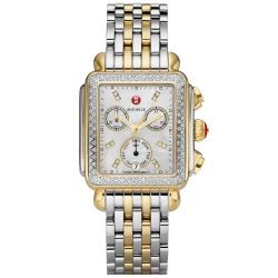 Michele Deco Diamond Dial Two-Tone Stainless Steel Watch MWW06P000108