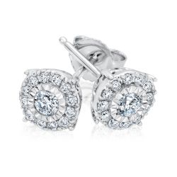 Miracle Set Halo Diamond Earrings 1/4ctw