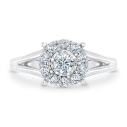 Ellaura Timeless Miracle Set Halo Diamond Engagement Ring 1/2ctw