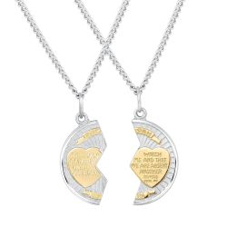 Mizpah Two-Tone Breakaway Medallion Pendants With Two Chains