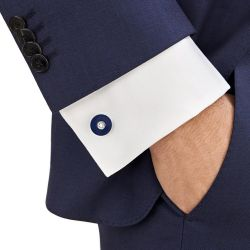 Montblanc PIX Stainless Steel and Blue Resin Cufflinks