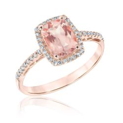Morganite and Diamond Halo Ring 1/5ctw