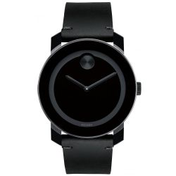 Movado BOLD Large Black Colorado Leather Watch 3600306
