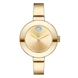Movado BOLD Mid-Sized Gold-Tone Crystal Accent Bangle Watch 3600201