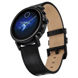 Movado Connect 2.0 Black Leather Strap Smartwatch 3660029