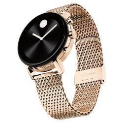 Movado Connect 2.0 Rose Gold-tone Stainless Steel Mesh Bracelet Smartwatch 3660027