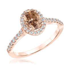 Ellaura Blush Natural Champagne Diamond and Diamond Rose Gold Engagement Ring 7/8ctw