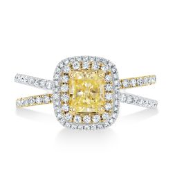 Ellaura Glow Natural Fancy Yellow Radiant Diamond Double Halo Engagement Ring 1 3/4ctw
