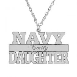 Alison and Ivy Navy Personalized Pendant 14x24mm