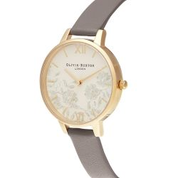 Oliva Burton Lace Detail Dial Grey Leather Strap Watch OB16MV98