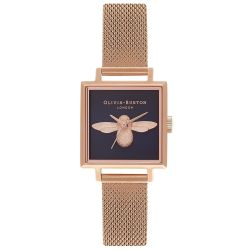Olivia Burton 3D Bee Black Square Dial Rose Gold Ion-Plated Mesh Stainless Steel Bracelet Watch OB16AM96