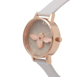 Olivia Burton 3D Bee Grey Dial Leather Strap Watch OB15AM77