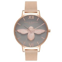 Olivia Burton 3D Bee Grey Dial Rose Gold Ion-Plated Mesh Stainless Steel Watch OB16AM117
