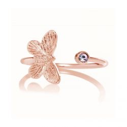 Olivia Burton Bejeweled Butterfly Tanzanite Ring, Rose Gold-Tone