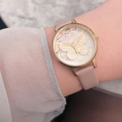 Olivia Burton Blossom 3D Butterfly Pink Leather Strap Watch OB16EG125