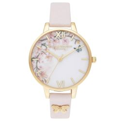 Olivia Burton Blossom Pink Leather Strap Watch OB16EG123