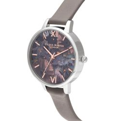 Olivia Burton Celestial Floral Black Dial Grey Leather Strap Watch OB16GD26