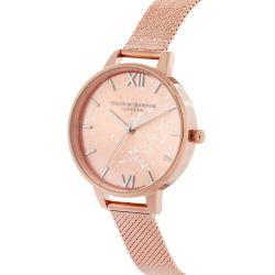 Olivia Burton Celestial Rose Gold Ion-Plated Boucle Mesh Stainless Steel Bracelet Watch OB16GD12
