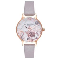 Olivia Burton Marble Floral Lilac Leather Strap Watch OB16CS14