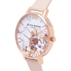 Olivia Burton Marble Floral Peach Leather Strap Watch OB16CS12