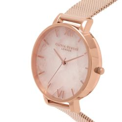 Olivia Burton Semi Precious Rose Quartz Rose Gold Ion-Plated Stainless Steel Mesh Watch OB16SP01