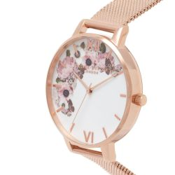 Olivia Burton Signature Floral Rose Gold Ion-Plated Mesh Stainless Steel Bracelet Watch OB16WG18