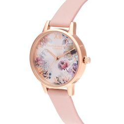 Olivia Burton Sunlight Florals Dusty Pink Leather Strap Watch OB16EG115