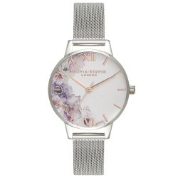Olivia Burton Watercolor Florals Mesh Stainless Steel Bracelet Watch OB16PP37