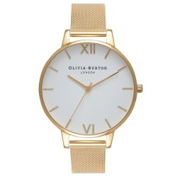 Olivia Burton White Dial Gold-Plated Stainless Steel Mesh Bracelet Watch OB15BD84