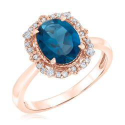 Oval Blue Topaz and Diamond Rose Gold Ring 1/6ctw