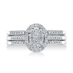 Ellaura Harmony Oval Cluster Diamond Engagement and Two Wedding Ring Bridal Set 1/2ctw