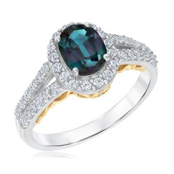 Oval Created Alexandrite, Diamond and Created White Sapphire Ring
