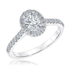 Ellaura Couture Oval Diamond Platinum Engagement Ring 1ctw