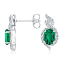 Oval Created Emerald and Created White Sapphire Earrings