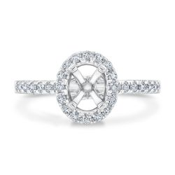 Oval Halo Round Diamond Semi-Mount Engagement Ring 3/8ctw