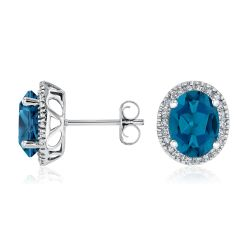 Oval London Blue Topaz and Diamond White Gold Stud Earrings 1/6ctw