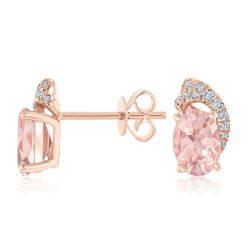Oval Morganite and Diamond Accent Earrings 1/10ctw