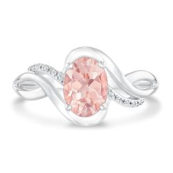 Oval Morganite and Diamond Accent Twist Ring