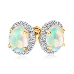 Oval Opal and Diamond Halo Yellow Gold Stud Earrings 1/6ctw