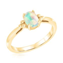 Oval Opal Yellow Gold Ring