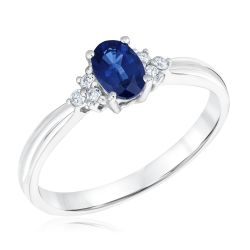 Oval Blue Sapphire and Diamond Accent Ring
