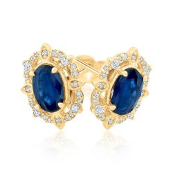 Oval Sapphire and Diamond Yellow Gold Earrings 1/8ctw
