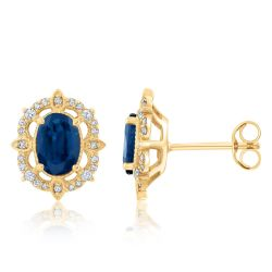 Oval Blue Sapphire and Diamond Yellow Gold Earrings 1/8ctw