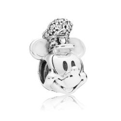 Pandora - Disney, Shimmering Steamboat Willie Portrait Charm, Clear Cubic Zirconia