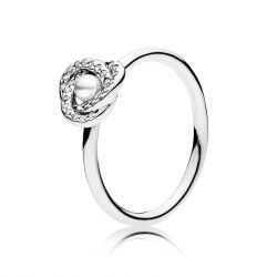 Pandora Luminous Love Knot Ring, White Crystal Pearl & Clear Cubic Zirconia