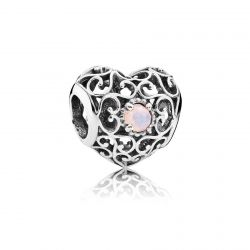 Pandora October Signature Heart Charm, Opalescent Pink Crystal